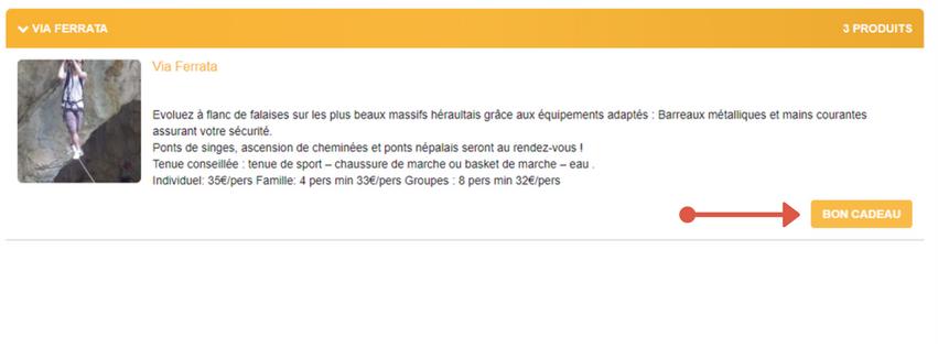 Bouton chèque cadeau activité à Montpellier